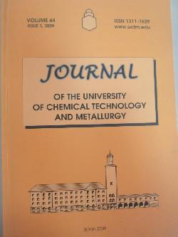 Journal of the university of chemical technology and metallurgy. Volume 44. Issue 3, 2009, колектив