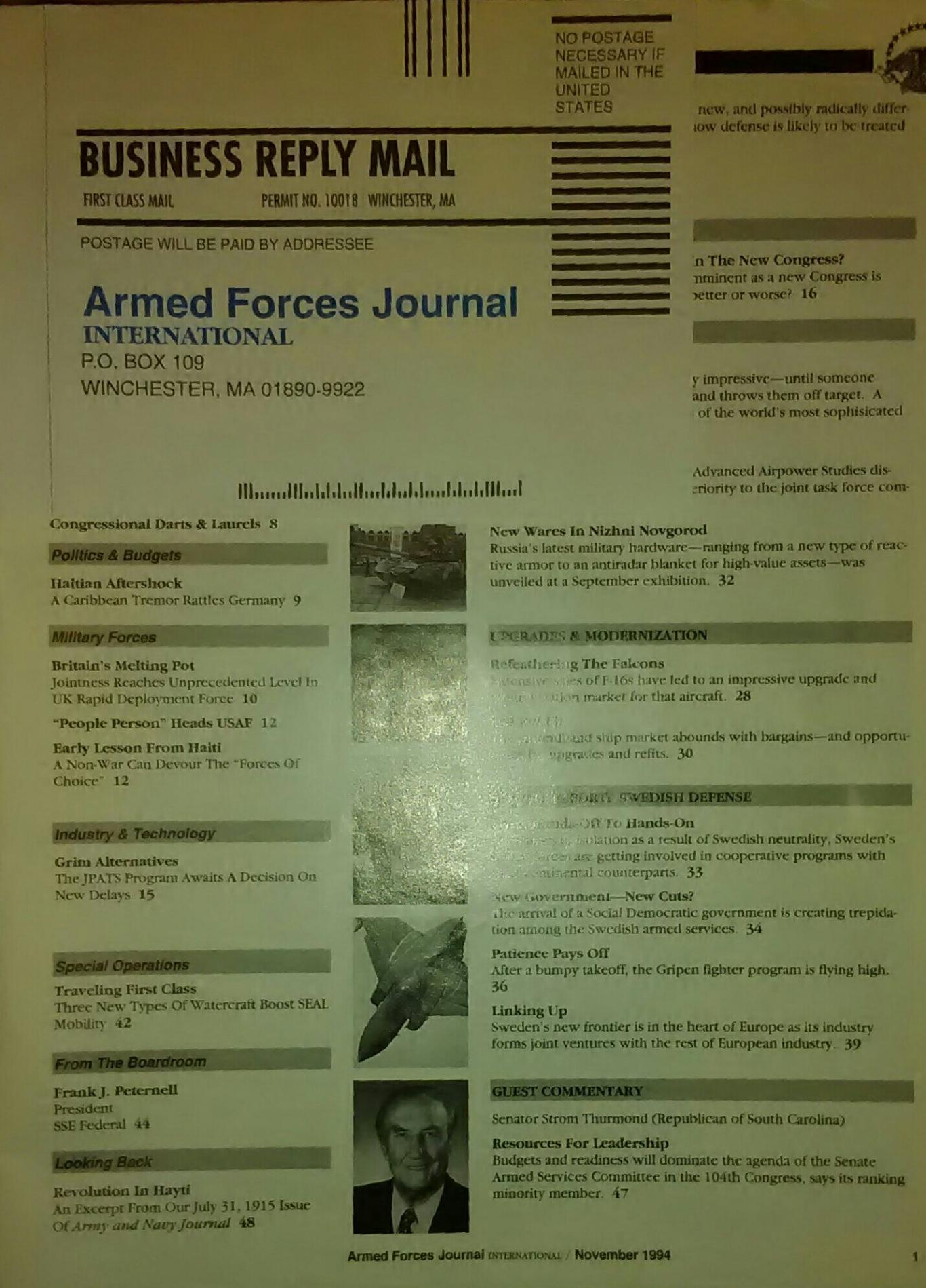 Аrmed Forces Journal. November 1994, Колектив