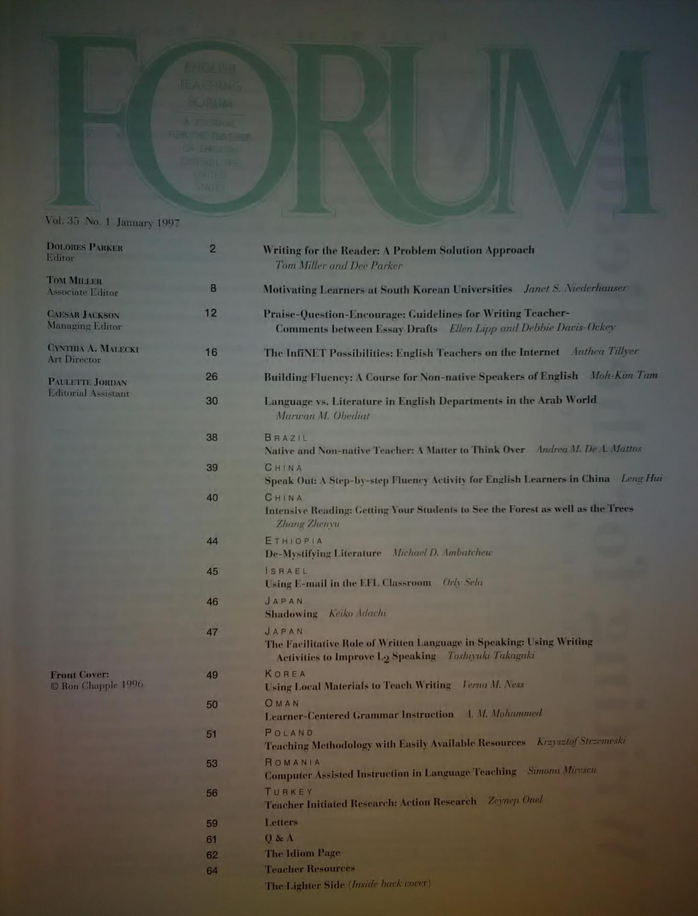 FORUM. Volume 35, Number 1, January 1997, Колектив