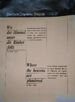 Frantfurter Allgemeine magazin. 3/1990: Where the Heavens are Plundered, Кlaus Gallas